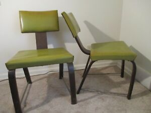Pair Mid Century Modern Chairs Mcm Eames Herman Miller Style Curved Legs