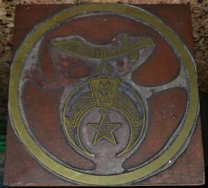Printing Press Letterpress Printers Block Large 6 Masonic Masons Sword Star