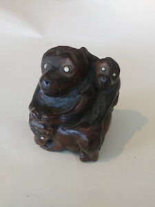 Vintage Chinese Yellow Boxwood Carved Monkey Mom With Two Babies