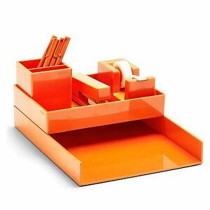 Poppin All Set 12 piece Desk Collection Organizer Stationery Office Style Orange