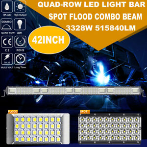 Cree 42inch 3328w Led Work Light Bar Quad Row Spot Flood Boat Offroad Suv Atv 40