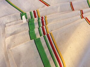 Unused Vintage French Linen Torchons Tea Towels Retro Green Red And Yellow