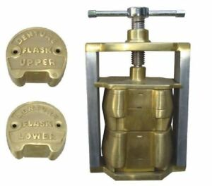 Dental laboratory spring press compress with two flask bronze alloy 3 pieces