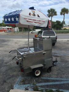 Mobile Hot Dog Cart Trailer Food Vending very Cool Cart Everything Works Well