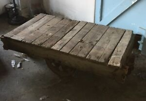 Antique Wood And Iron Industrial Railroad Factory Cart Coffee Cocktail Table