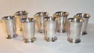 Peruvian Camusso Sterling Silver Apertif Cordial Shot Glass Bar Ware Set Of 8