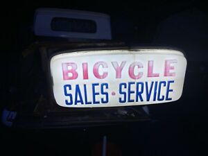 Vintage Bicycle Shop Sign Illuminated Two Sided Light Sales Service Old Store