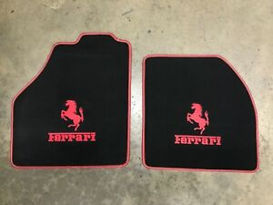 Ferrari 488 Custom Car Floor Mats Red Horse Logo Writing W Red Edging Carpet