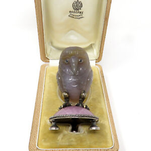 Nyjewel Faberg Imperial Russian Silver Jade Sapphire Owl Paperweight