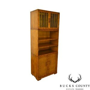 Faux Bamboo Wicker Vintage Stacking Bookcase Cabinet