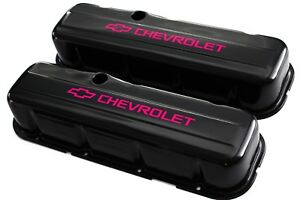 Bbc Black Steel Tall Valve Covers W Pink Chevrolet Logo 65 95 396 454