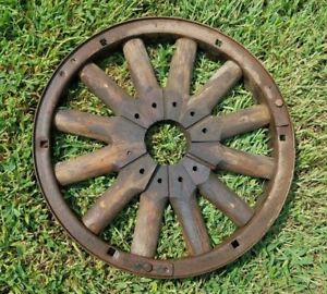 Antique Primitive 18 Wood Wagon Buggy Pulley 12 Spoke Wheel Cast Iron Rim
