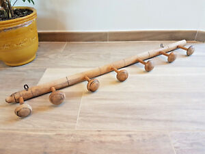 French Vintage Wood Coat Hat Rack Hanger W 7 Pegs Faux Bamboo Style
