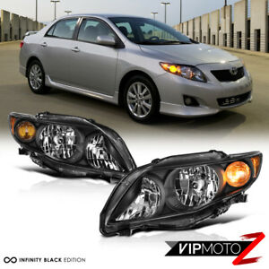 2009 2010 Toyota Corolla factory Style Black Headlights Lamps Replacement Pair