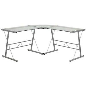 Openbox Flash Furniture Glass L shape Computer Desk With Silver Frame Finish