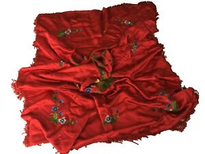 Antique Red Silk Asian Hand Embroidered Textileart Drape Panel Twin Coverlet