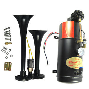 Black Loud 2 Trumpet W 120 Psi Air Compressor Complete System Train Horn Kit