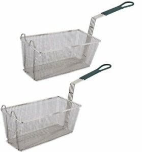 Culinary Depot Fryer Basket Set Of 2 13 1 4 X 6 1 2 with Plastic Green H New