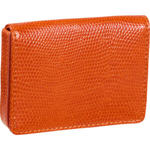 Budd Leather Business Card Case Oversized Tangerine Business Accessorie New