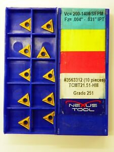20pc Nexus Carbide Inserts Tcmt 21 51 hm 251 Indexable Coated Tips Bits A128