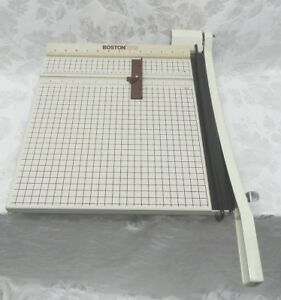 Boston 2615 Paper Trimmer Cutter Very Sharp Guillotine Wood Base Metal Handle