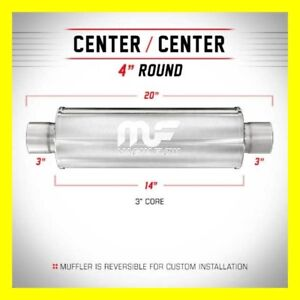 Magnaflow Muffler Ss 14419 Center 4 Inch Round 3 Inch Inlet Outlet 14 Inch Body