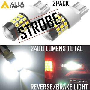 Alla Lighting 39 Led 7443 Strobe Flashing Brake Stop Backup Light Bulb White Vs