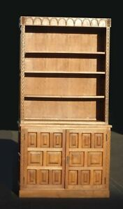 Vintage Mid Century Modern Teak Bookcase Cabinet Shelves French Country Hutch