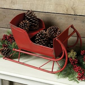 Big Christmas Red Metal Sled Sleigh Primitive French Country Farmhouse Decor New