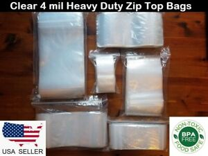Heavy Duty Clear Ziplock Bags Reclosable Poly Plastic 4 Mil Fda Zip Lock Seal