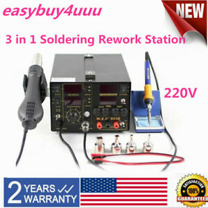 853d 3 In1 Soldering Rework Station Iron Hot Air Gun Smd Welder Tool 4 Nozzle