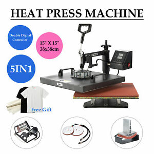 15 X 15 Heat Press 5 In 1 360 Degree Swivel Heat Press Machine W Silicone Pad