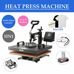 15 X15 T Shirt Heat Press Machine For Mug Hat Plate Cap 5 In 1 W Silicone Pad