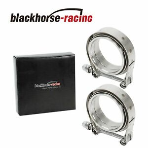 2 X Universal 3 Inch Stainless Steel V band Turbo Downpipe Exhaust Clamp Vband