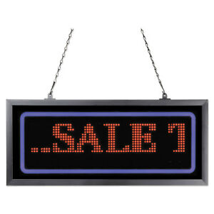 Artistic Programmable Led Message Board With Blue Border 11 X 25 Red blue