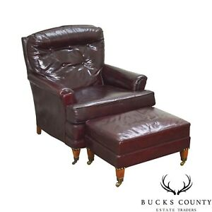 Vintage High Quality Oxblood Tufted Leather Club Chair W Ottoman