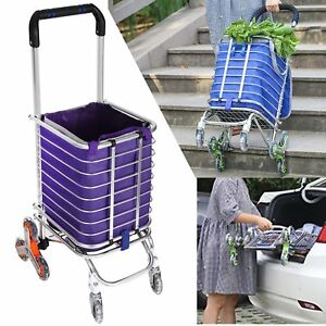 Folding Shopping Cart Portable Swivel Wheel Grocery Laundry Stair Climbing Cart