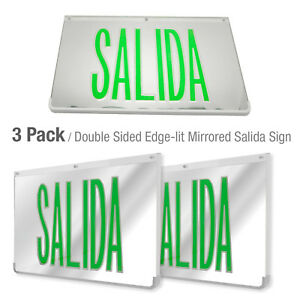 Led Mirrored Green Exit Sign Indoor Emergency Fixtures Fire Lights Panel 3pack