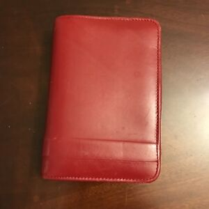 Franklin Covey Pocket 6 Rings Red Italian Calfskin Leather Zip Planner Binder