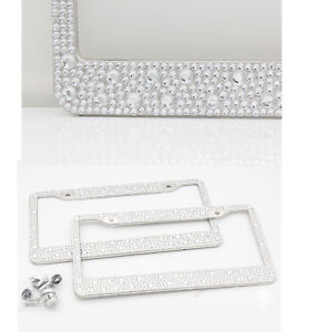 2 Pc Metal Silver Diamond Bling License Plate Frame Fit For Audi Car Auto