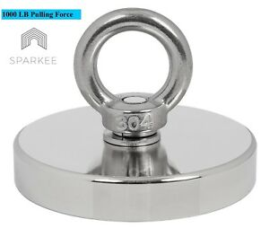 1000 Lb Pull Force Round Neodymium Fishing Magnet Countersunk Hole And Eyebolt