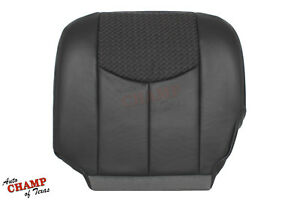 2004 Chevy Avalanche Z71 Z66 Driver Side Bottom Leather Cloth Seat Cover Dk Gray