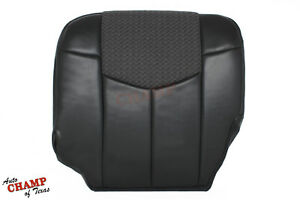 2002 Chevy Avalanche Driver Side Bottom Leather Seat Cover Gray W Cloth Insert