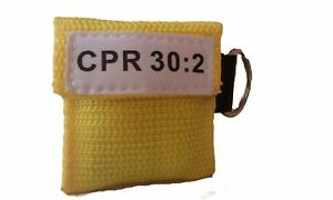 100 Yellow Cpr Facial Shield Mask In Pocket Keychain Imprinted Cpr 30 2