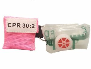 100 Pink Cpr Facial Shield Mask With Pocket Keychain