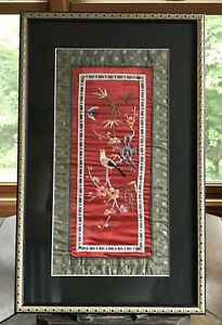 Vintage Asian Chinese Embroidery On Red Silk Bird Flowers Framed 13 X 21