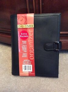 Day timer Desk classic 1 Black Unstructured Genuine Leather Open Planner Binder