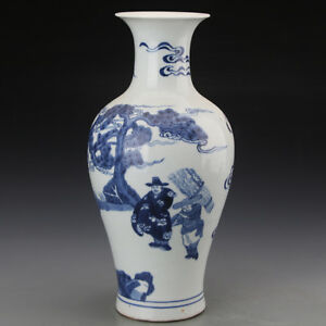 12 China Old Antique Porcelain Qing Blue White Charaters Guanyin Vase