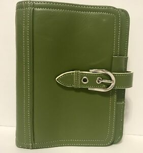Franklin Covey Pocket Unstructured Full Grain Leather Green Planner 1 Rings