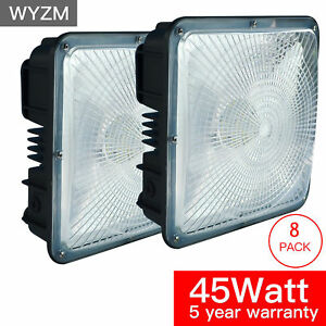 8pack 45w Led Canopy Light 175 200w Hps hid Replace 4500 Lumens 9 5 X 9 5